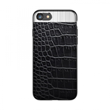 Black Luxury PU Leather Metal Hybrid Case for iPhone